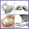 diamond heart shape usb pendrive for