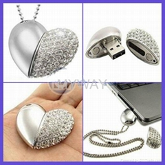 diamond heart shape usb pendrive for wedding gifts