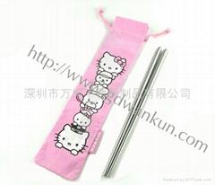 Hollokitty布袋便携式不锈钢筷