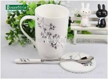 简约相思树系列骨瓷带勺带盖咖啡杯