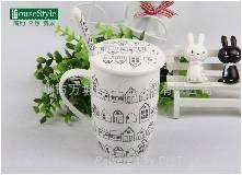 簡約相思樹系列骨瓷帶勺帶蓋咖啡杯 3
