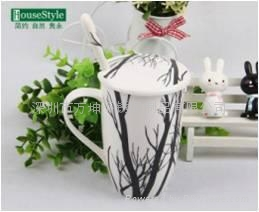 簡約相思樹系列骨瓷帶勺帶蓋咖啡杯 4