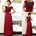 Brownish red Pleat Floor-Length Evening
