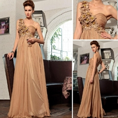 Champagne v neck Elegant Beaded Evening Dresses30720