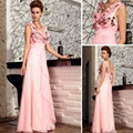 Pink Beaded embroideried three-dimensional flowers prom Dresses30729  1