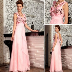 Pink Beaded embroideried