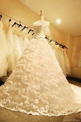 Factory Custom Made Strapless Beaded Full Flower Wedding Dresses