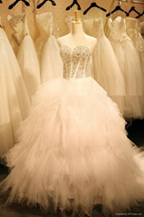 Factory Custom Made Full Beaded On Top Bouffant Wedding Dresses