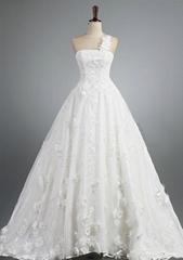 Factory Custom Made Full of Flower One Shoulder Bouffant Wedding Dresses