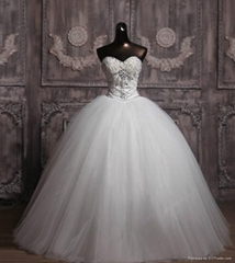 Customer Made Strapless Beaded Bouffant Wedding Dress