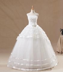Customer Made Strapless Full Of Flower Bowknot Bouffant Wedding Dress
