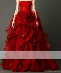 Strapless Embriodery High End Bouffant Tailing Wedding Dress Party Dress