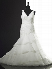 V Neck Embroidery Bouffant Tailing Plus Size Wedding Dress Party Dress