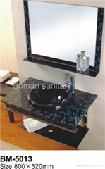 Glass basin ,Toilet wash cabinet with towel rack