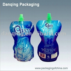 Liquid stand up pouch with spout for beverage packaging
