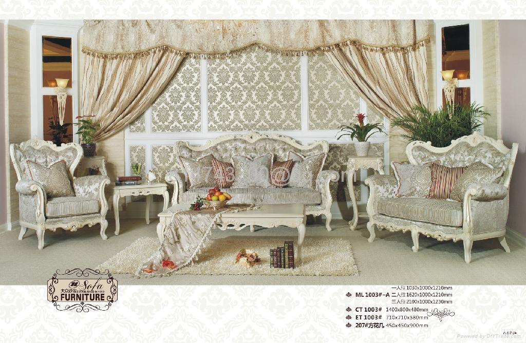 antique European genuine leather living room sofa furniture set 3