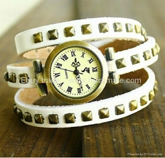 Cow Leather Rivets Charm Watch bracelet watch hot in Ebay
