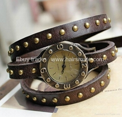 Cow Leather ROLLED GOLD Charm Watch bracelet watch hot in Ebay