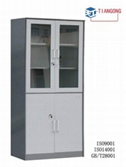 glass door KD metal filing cabinet / locker