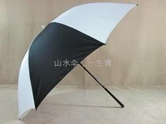 白加黑單層防風高爾夫傘