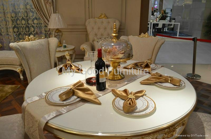 Solid Furniture High Gloss Dining Roomgold Foil Decorate 2