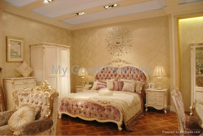 Solid furniture new style bedroom suite double bed for Latest bed styles