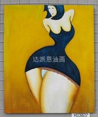抽象女孩油畫