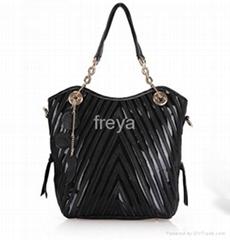 unique tripes stitched leather women handbags