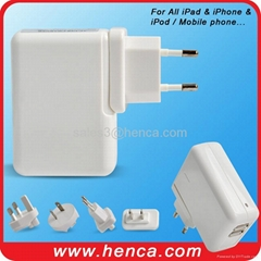 Dual USB Travel Power Adapter with 4 kinds of Plug