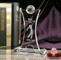 Glass Trophy Awards Plaq
