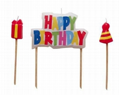 Happy Birthday Molded Pick Candle Set