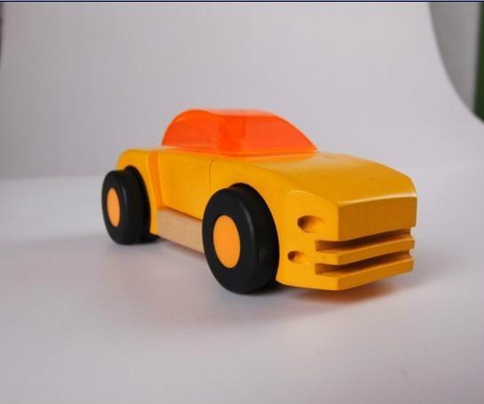 pull-back motor(Business car)wooden children toys 4