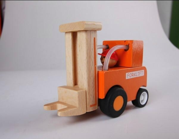 construction works series - forklift wooden toys cars 1