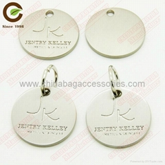 Metal tags with rings for zipper puller/handbags/leathers/bags