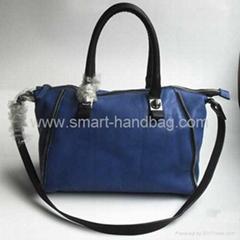 Sky Blue Zipper Trim PU Boston Bag