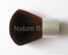 kabuki brush with brownish red HJF goat hair matt silver handle