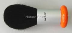 kabuki brush with quality HJF goat hair matt silver aluminum ferrule