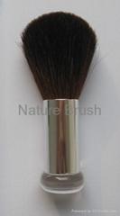 kabuki brush with quality HJF goat hair shiny silver aluminum ferrule