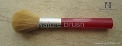 powder brush with BJF goat hair red plastic handle