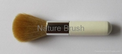 powder brush with BJF goat hair short white aluminum ferrule