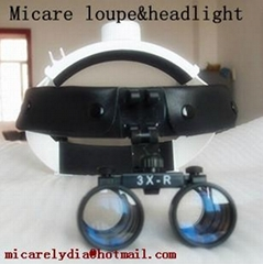 headband dental loupe with surgical headlight