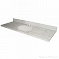 Polished White Nature Stone Carrara Marble Vanity Tops