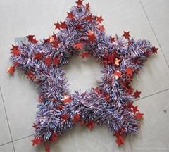 Christmas tinsel decorative wreath