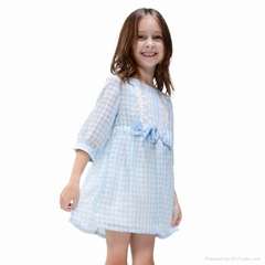 2013 blue summer lace child dress  girls summer dres
