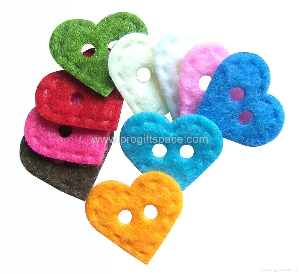 Felt Heart Shaped Buttons - Custom Easy Buttons - FS13058