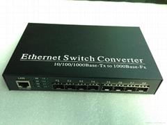 8-Port 10/100/1000M Fx +1-Port UTP Fiber Switch