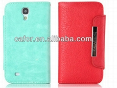 wallet case for samsung galaxy s4 i9500 ,high quality with factory supply