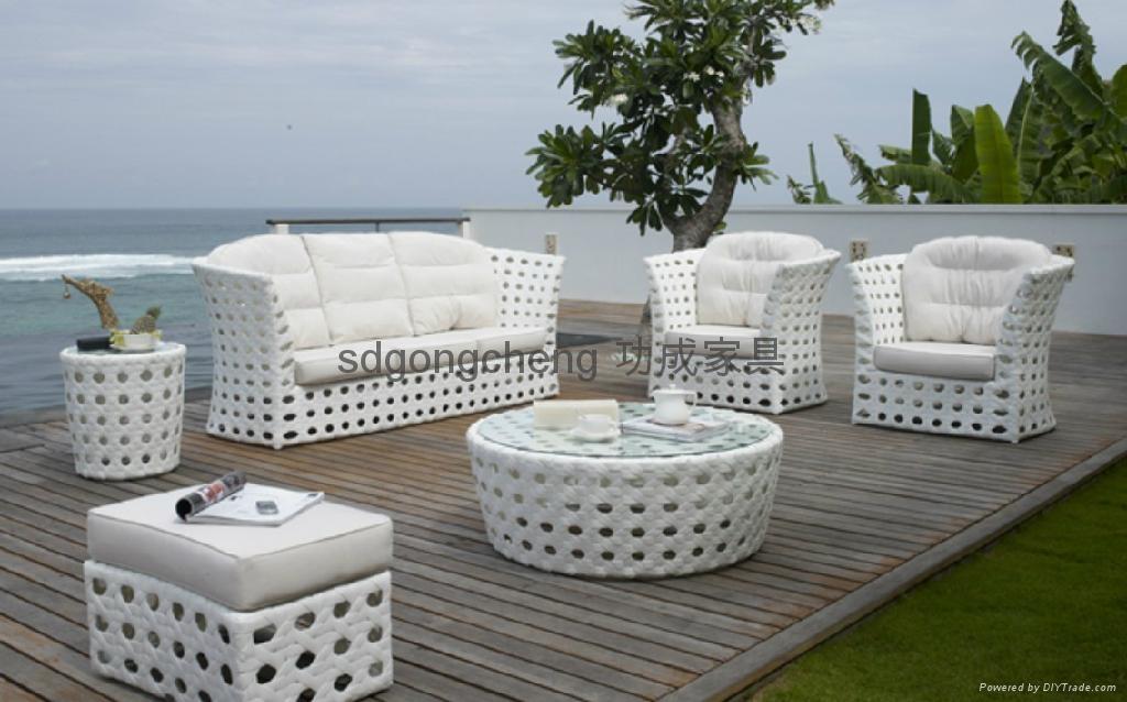 2013 Aluminum White Pe Rattan Sofa Set Gongcheng Furniture China