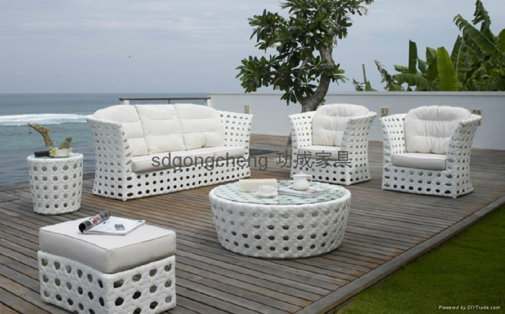 2013 Aluminum white PE Rattan sofa set 1 ... - 2013 Aluminum White PE Rattan Sofa Set - Gongcheng Furniture (China
