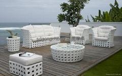 2013室内外铝框白色PE藤沙发